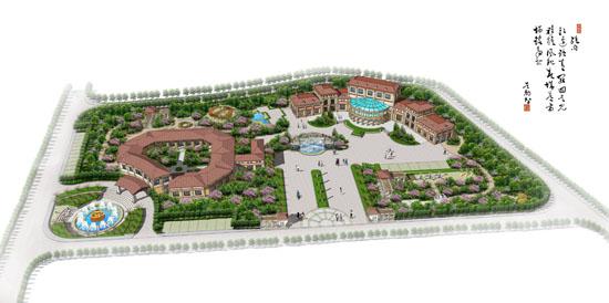 连廊式的建筑形式配以欧式的庭院景观构成优美舒适的健身康复疗养中心